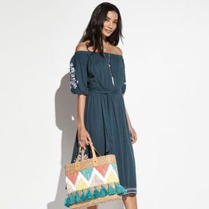 TULAROSA Embroidered Contrast Boho Dress